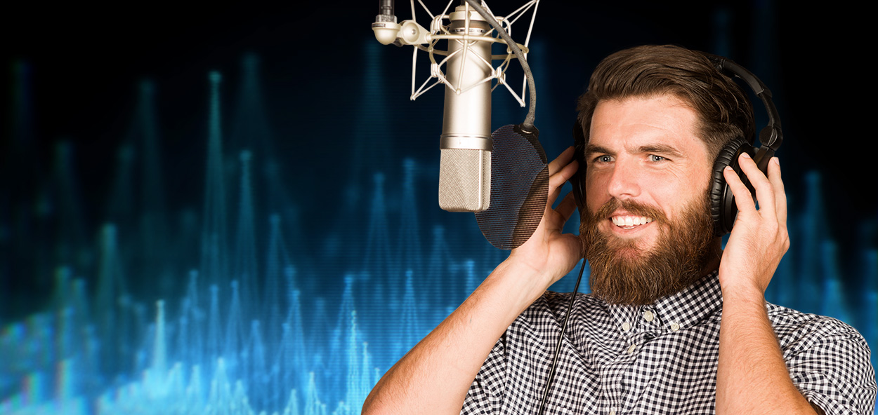 Shows a professional recording studio of a great voice over company.